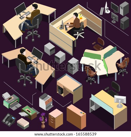 3d Isometric office with detailed workstation set - stock vector