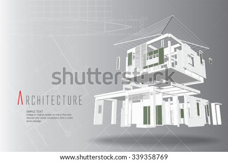 3D isometric view of the cut residential house on architect drawing. - stock vector