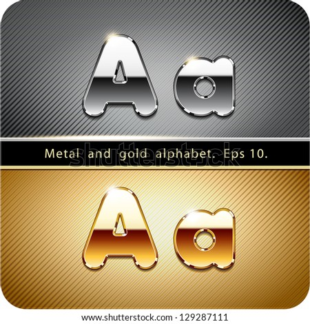 "3d Joyful set of chrome metal and gold vector alphabet. The letter ""A"".Eps 10. The rest of uppercase and lowercase letters, symbols and numbers of the alphabet in my portfolio. - stock vector"