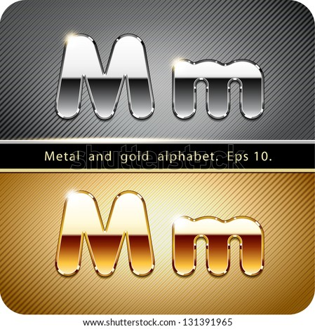 """3d Joyful set of chrome metal and gold vector alphabet. The letter """"M"""".Eps 10. The rest of uppercase and lowercase letters, symbols and numbers of the alphabet in my portfolio. - stock vector"""