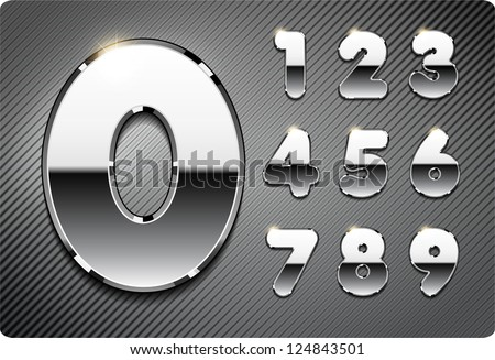 3d Joyful set of chrome metal vector numbers, from 1 to 0. Eps 10. The rest of uppercase and lowercase letters, and symbols of the alphabet in my portfolio. - stock vector