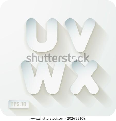 3d Joyful set of cut paper vector concave alphabet  letters.Uppercase letter U, letter V, letter W, letter X. Eps 10 - stock vector