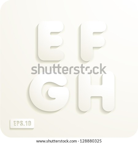 3d Joyful set of cut paper vector letters, E,F,G,H. Eps 10. The rest of uppercase and lowercase letters, symbols and numbers of the alphabet in my portfolio. - stock vector