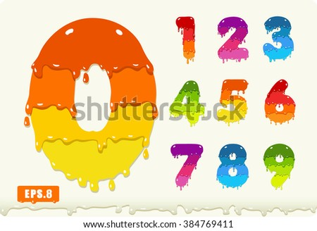 3d Joyful set of numbers painted with paint, with smudges and drops. Zero 0 One 1 Two 2 Three 3 Four 4 Five 5 Six 6 Seven 7 eight 8 nine 9. eps8 - stock vector