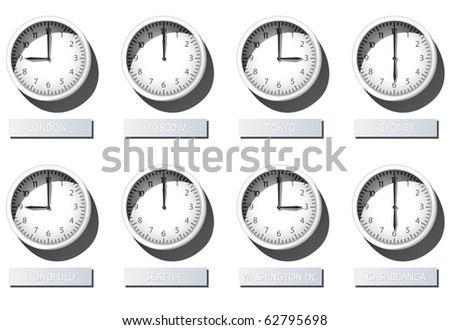 3d Karlsson Wall Clock Time Zone - stock vector