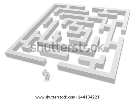 3d labyrinth with person icon - stock vector