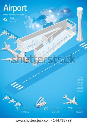 3d Letter A - Airport with Info Graphics in Blue Background - stock vector