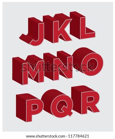 3D Lettering J through R - stock vector