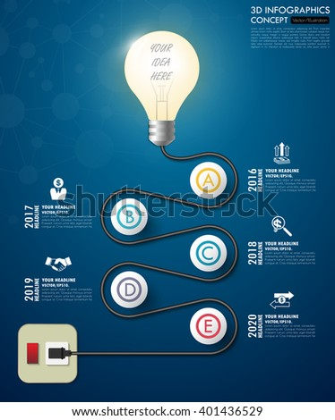3d light bulb timeline infographics with icons set. vector. illustration. - stock vector