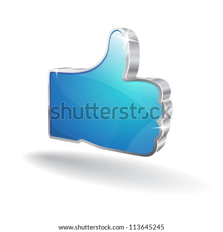 3d Like Icon - stock vector