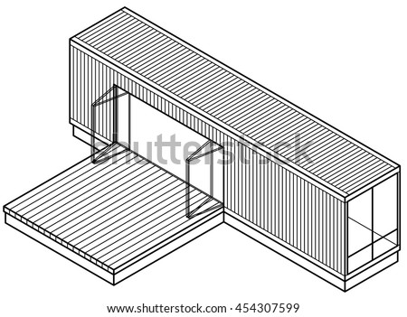 3D Line-art drawing of a house/building made out of a shipping container.