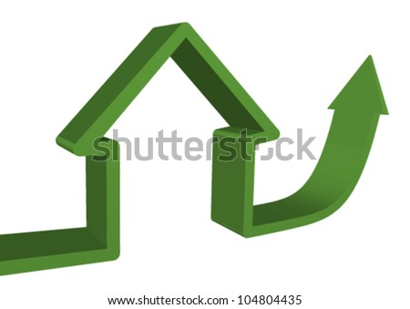 3d line forming a(eco) house then pointing up symbolizing gain and growth