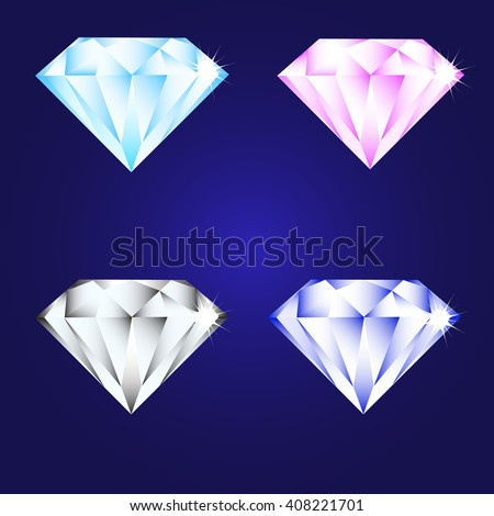 3d luxury diamond brilliant icon set different colors on a deep blue background - stock vector