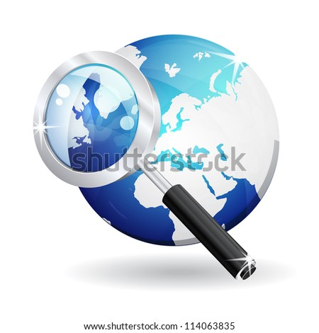 3d Magnifying Glass Search Vector Icon - stock vector