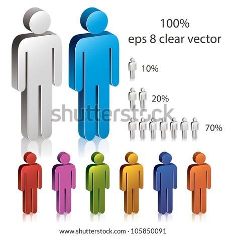 3d man icon, infographics design element, set of color versions. - stock vector