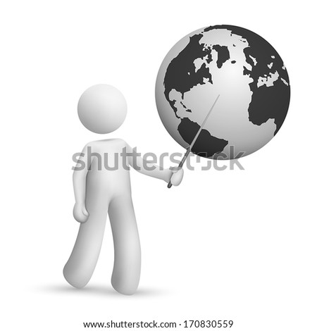 3d man is explaining the earth isolated white background - stock vector