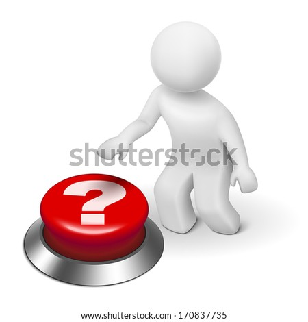 3d man is pushing the question mark button isolated white background - stock vector