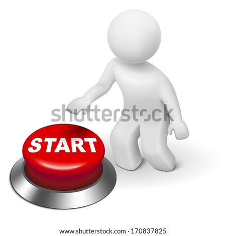3d man is pushing the start button isolated white background