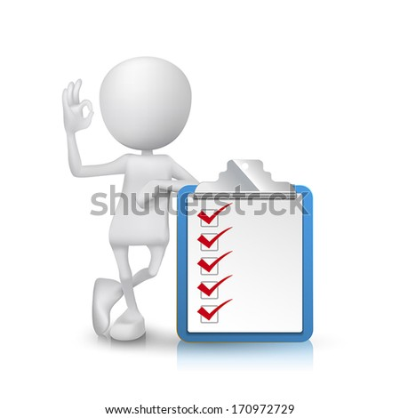 3d man showing okay hand sign with a clipping note pad and check list - stock vector