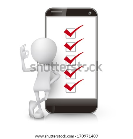 3d man showing okay hand sign with a mobile phone and check list - stock vector