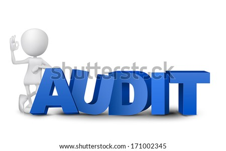 "3d man showing okay hand sign with a word ""audit"" - stock vector"