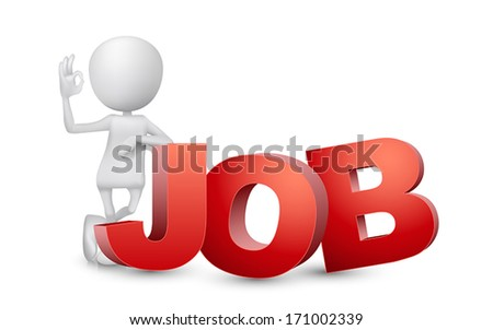 "3d man showing okay hand sign with a word ""JOB"" - stock vector"