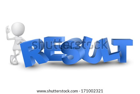 "3d man showing okay hand sign with a word ""result"""