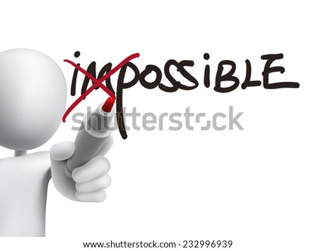 3d man turning the word impossible into possible over transparent board - stock vector