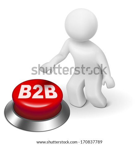 3d man with b2b ( business to business ) button isolated white background - stock vector