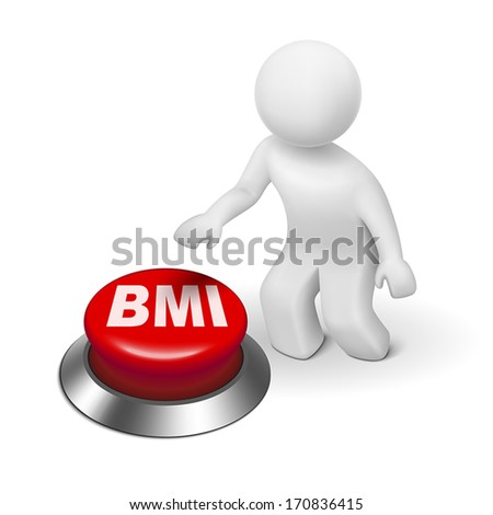 3d man with BMI ( Body Mass Index) button isolated white background