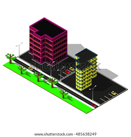 3d map. Map includes buildings, business center, offices, cars, parkings, markings and greenery. Isometric map elements.