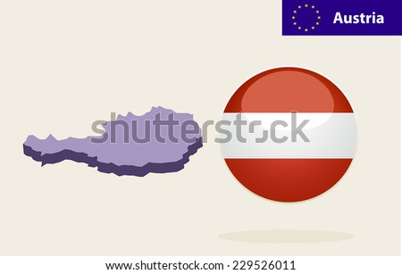 3D Map of Austria. Vector - Austria Flag Glossy Button