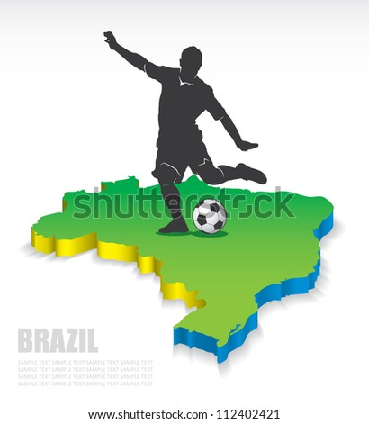 3D map of Brazil with soccer player - vector illustration - stock vector