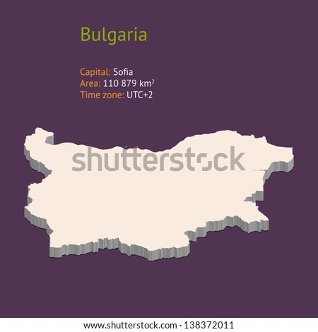 3d map of Bulgaria isolated on purple background - stock vector