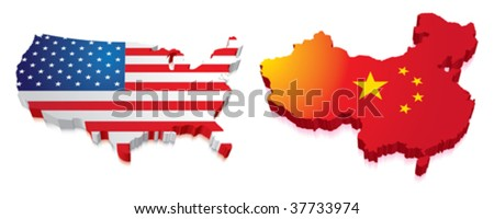 3D Map of China and US with Flag