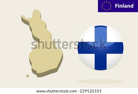 3D Map of Finland. Vector - Finland Flag Glossy Button - stock vector