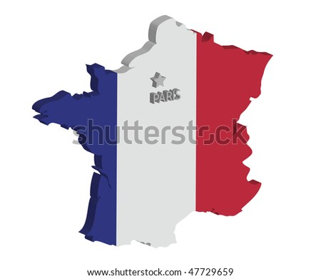 3d map of france with flag and capital marked