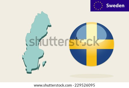 3D Map of Sweden. Vector - Sweden Flag Glossy Button - stock vector