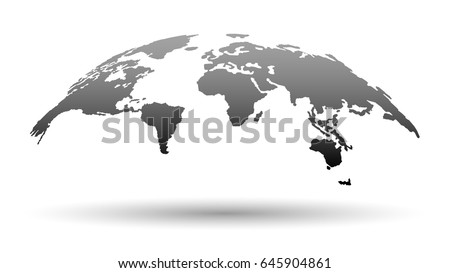 3D Map of the Word in Grey Color with Shadow Isolated on White Background. Vector Illustration