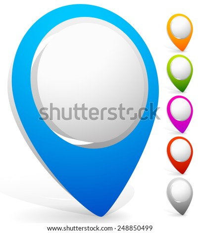 3D Map pin, location marker, thumbtack, abstract push-pin set. - stock vector