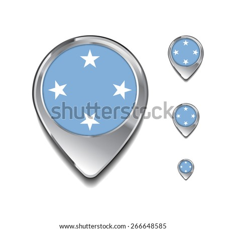3d Map Pointer with flag glossy button style on gray background | Micronesia flag map pointer - stock vector