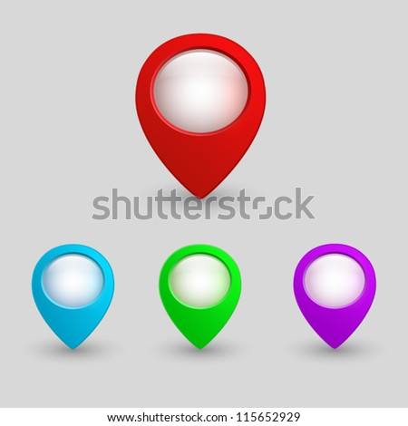 3d map pointers. web buttons set - stock vector