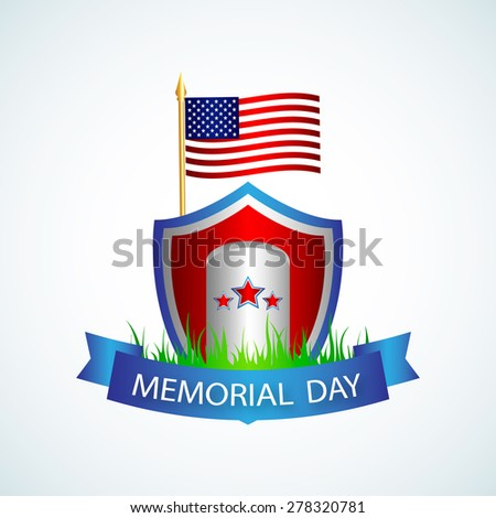3d Memorial Day label with the monument of the national flag, stars and ribbons on a white background. Vector illustration - stock vector