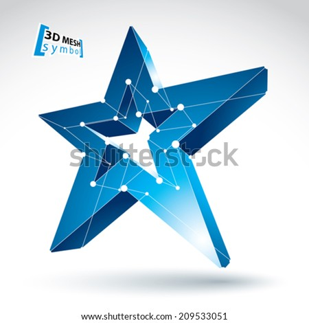 3d mesh blue star sign isolated on white background, colorful elegant lattice superstar icon, dimensional tech pentagonal object with white connected lines, bright clear eps 8 vector illustration. - stock vector