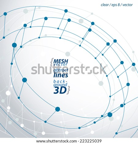 3d mesh cylinder abstract object isolated on white background, stylish geometric circle icon, clear eps 8 vector illustration. - stock vector
