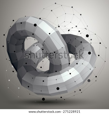 3D mesh modern stylish abstract construction, origami facet object constructed from different geometric parts. - stock vector