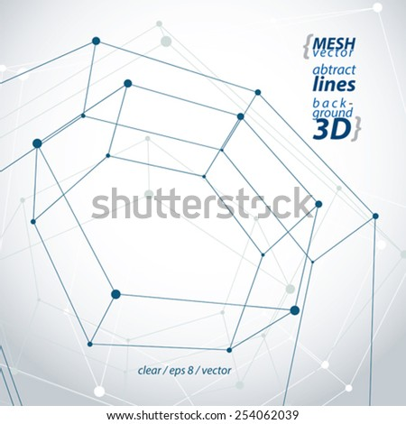 3d mesh pentagonal abstract object isolated on white background, stylish geometric icon, clear eps 8 vector illustration. - stock vector