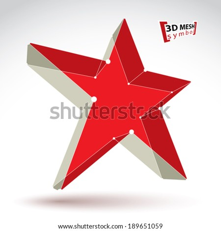 3d mesh soviet red star sign isolated on white background, colorful elegant lattice superstar icon, dimensional tech USSR symbol with white connected lines, bright clear eps 8 vector illustration. - stock vector