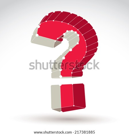 3d mesh stylish web question mark sign isolated on white background, colorful carcass query icon, dimensional sketch tech punctuation mark with white connected lines.