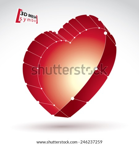 3d mesh stylish web red love heart sign isolated on white background, colorful elegant carcass loving heart icon, cardiology symbol, bright clear eps 8 vector illustration, medical sign. - stock vector